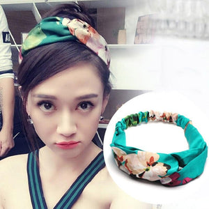 Oiko Store  style 6 flower green Women Spring Autumn Suede Headband Vintage Cross Knot Elastic Hair Bands Soft Solid Girls Hairband Hair Accessories