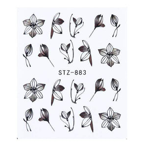 Oiko Store  STZ-883 1 Sheet Black White Leaf Nail Art Sticker Slider Flower Water Decals Decor Watermark Tattoo Manicure Accessories LASTZ808-815-1