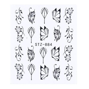 Oiko Store  STZ-884 1 Sheet Black White Leaf Nail Art Sticker Slider Flower Water Decals Decor Watermark Tattoo Manicure Accessories LASTZ808-815-1