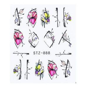 Oiko Store  STZ-888 1 Sheet Black White Leaf Nail Art Sticker Slider Flower Water Decals Decor Watermark Tattoo Manicure Accessories LASTZ808-815-1