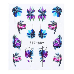 Oiko Store  STZ-889 1 Sheet Black White Leaf Nail Art Sticker Slider Flower Water Decals Decor Watermark Tattoo Manicure Accessories LASTZ808-815-1