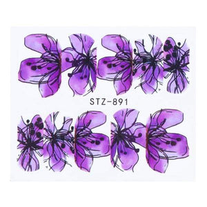 Oiko Store  STZ-891 1 Sheet Black White Leaf Nail Art Sticker Slider Flower Water Decals Decor Watermark Tattoo Manicure Accessories LASTZ808-815-1