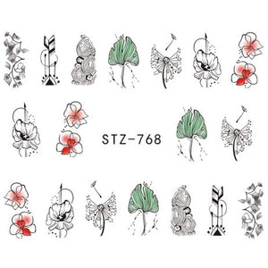 Oiko Store  STZ768 1 Sheet Jewelry Flower Water Decal Black Sticker For Nail Pattern Painting Wrap Paper Foil Tip Tattoo Manicure SASTZ766-778