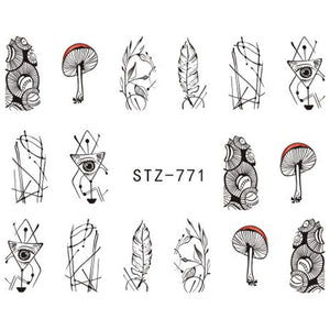 Oiko Store  STZ771 1 Sheet Jewelry Flower Water Decal Black Sticker For Nail Pattern Painting Wrap Paper Foil Tip Tattoo Manicure SASTZ766-778