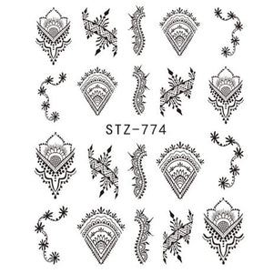 Oiko Store  STZ774 1 Sheet Jewelry Flower Water Decal Black Sticker For Nail Pattern Painting Wrap Paper Foil Tip Tattoo Manicure SASTZ766-778
