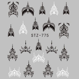 Oiko Store  STZ775 1 Sheet Jewelry Flower Water Decal Black Sticker For Nail Pattern Painting Wrap Paper Foil Tip Tattoo Manicure SASTZ766-778