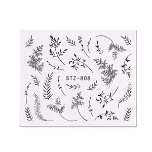 Oiko Store  STZ808 1 Sheet Black White Leaf Nail Art Sticker Slider Flower Water Decals Decor Watermark Tattoo Manicure Accessories LASTZ808-815-1