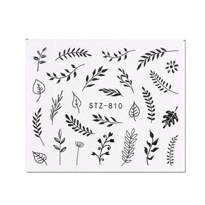 Oiko Store  STZ810 1 Sheet Black White Leaf Nail Art Sticker Slider Flower Water Decals Decor Watermark Tattoo Manicure Accessories LASTZ808-815-1