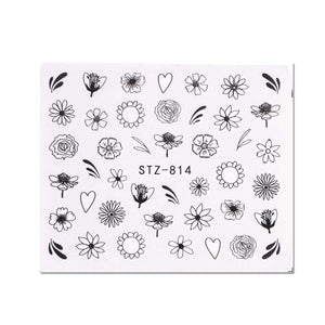Oiko Store  STZ814 1 Sheet Black White Leaf Nail Art Sticker Slider Flower Water Decals Decor Watermark Tattoo Manicure Accessories LASTZ808-815-1