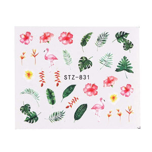 Oiko Store  STZ831 1 Sheet Black White Leaf Nail Art Sticker Slider Flower Water Decals Decor Watermark Tattoo Manicure Accessories LASTZ808-815-1