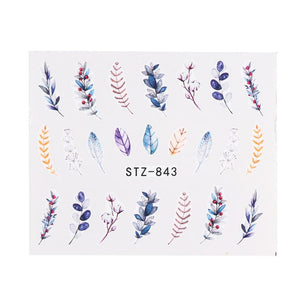 Oiko Store  STZ843 1 Sheet Black White Leaf Nail Art Sticker Slider Flower Water Decals Decor Watermark Tattoo Manicure Accessories LASTZ808-815-1