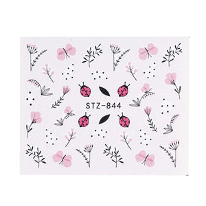 Oiko Store  STZ844 1 Sheet Black White Leaf Nail Art Sticker Slider Flower Water Decals Decor Watermark Tattoo Manicure Accessories LASTZ808-815-1