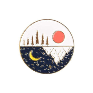 Oiko Store  sun moon gold Outdoors Mountain Starry Night Enamel Pin Custom Wild Camping Hiking Brooches Bag Clothes Lapel Pin Adventure Badge Jewelry Gift
