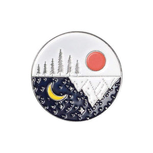 Oiko Store  sun moon silver Outdoors Mountain Starry Night Enamel Pin Custom Wild Camping Hiking Brooches Bag Clothes Lapel Pin Adventure Badge Jewelry Gift