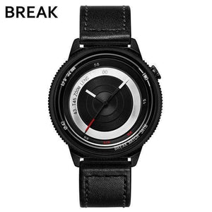 Oiko Store  T45-LBK-BK BREAK Top Luxury Brand Men Women Unique Creative lovers Watches Casual Fashion Quartz Sport WristWatch Stainless Steel Strap