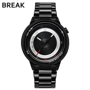 Oiko Store  T45-SBK-BK BREAK Top Luxury Brand Men Women Unique Creative lovers Watches Casual Fashion Quartz Sport WristWatch Stainless Steel Strap