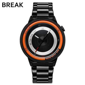 Oiko Store  T45-SBK-OR BREAK Top Luxury Brand Men Women Unique Creative lovers Watches Casual Fashion Quartz Sport WristWatch Stainless Steel Strap