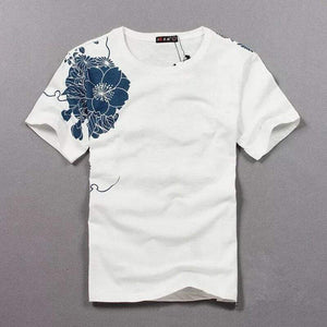 Oiko Store  Tshirt Hot Sale T Shirt Men Quality Goods Embroidery With Short Carp Tattoo Short-sleeved O-neck Cotton Casual 2019 New Arrival