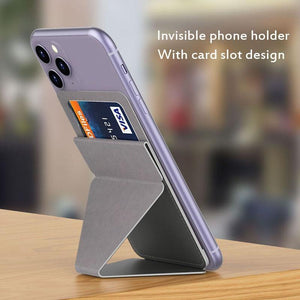 Oiko Store  Ultra thin Phone Stand Folding Invisible Holder Magnetic Back Mount With Card Slot Mobile Phone Stand For iPhone Huawei Samsung