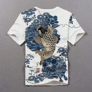 Oiko Store  White / M Tshirt Hot Sale T Shirt Men Quality Goods Embroidery With Short Carp Tattoo Short-sleeved O-neck Cotton Casual 2019 New Arrival