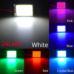 Oiko Store  White Red Blue T10 W5w Cob 24SMD 36SMD Car Led Vehicle Panel Lamp Auto Interior Reading Lamp Bulb Light Dome Festoon BA9S DC 12v