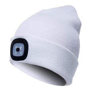 Oiko Store  White Unisex Outdoor Cycling Hiking LED Light Knitted Hat Winter Elastic Beanie Cap