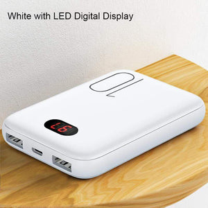 Oiko Store  White with LED Power Bank for xiaomi mi iPhone,USAMS Mini Pover Bank 10000mAh LED Display Powerbank External Battery Poverbank  Fast charging