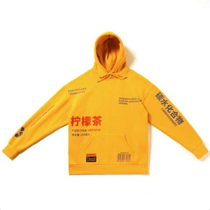 Oiko Store  Yellow / S China style Sweatshirts hooded hoodies Hip Hop Skateboard letters print Beige drawstring Autumn Winter Pullover hoody free ship