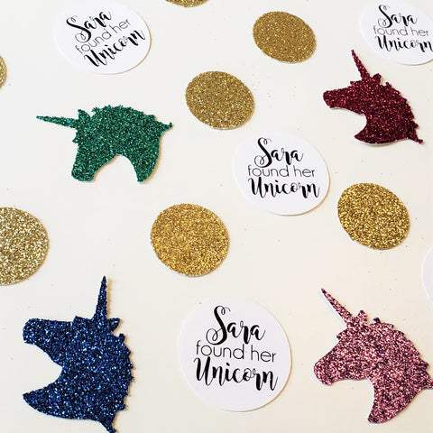 custom unicorn rainbow confetti