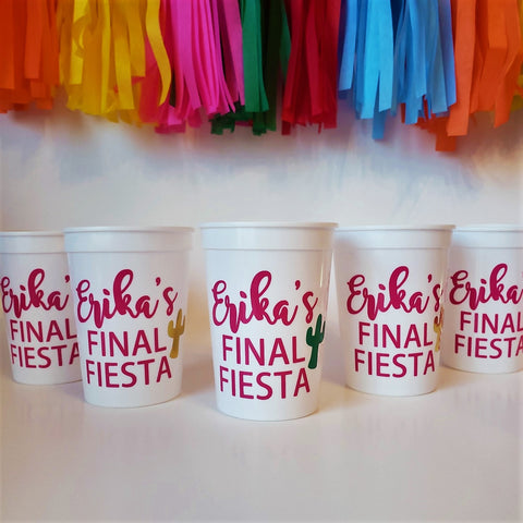 Final Fiesta Bachelorette Party Custom Cups Set