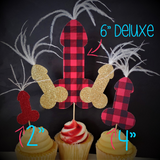 Flannel Fling Penis Cupcake Toppers / Penis Cake Topper