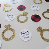 Personalized Flannel Fling Confetti with Rings and Buffalo Plaid Circles