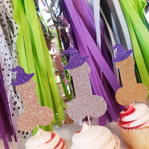 Halloween Bachelorette Party Witch Penis Cupcake Toppers