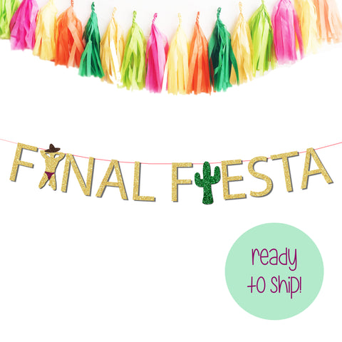 final fiesta banner featuring a male dancer wearing a sombrero and green glitter cactus