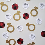 personalized flannel fling confetti with rings and red buffalo plaid confetti