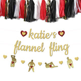 personalized flannel fling banner with flannel hearts and stripper banner