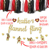 flannel fling banner with flannel hearts and flannel stripper banner