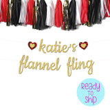 custom flannel fling banner with flannel hearts and matching tassel garland