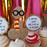 harry potter penis cupcake toppers, each topper features a lightning bolt, spectacles, and gryffindor colored scarf