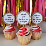 scalloped gold glitter cupcake toppers that read 'i solemnly swear that i am up to no good'