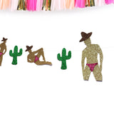Final Fiesta Bachelorette Party Banner Male Strippers Wearing Sombreros and Cactus Banner