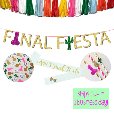 Final Fiesta Bachelorette Party Penis Banner Package