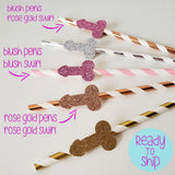 penis straws in assorted glitter colors of rose gold, gold, blush, and silver