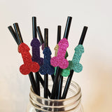 Bachelorette Party Rainbow Glitter Penis Straws, set of 10