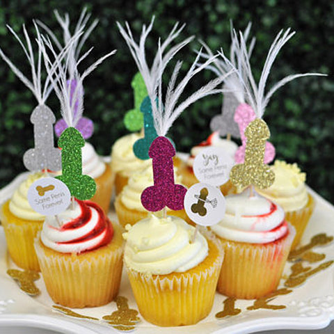 Penis Cupcake Toppers with Feathers