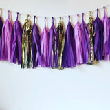 Purple and Gold Tassel Garland, New Orleans Bachelorette Tassels