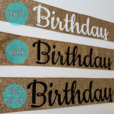 Gold Glitter Birthday Bitch Sash, Birthday Sash, Custom