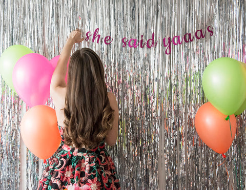 She Said Yaaaas (Yes) Bachelorette Hen Party Glitter Banner Garland - Bachelorette Party Decor, Custom Cursive Banner, Engagement Party
