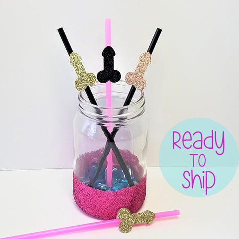 Bachelorette Party Glitter Penis Straws, set of 10