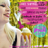girl holding penis cupcake topper with feathers, text that reads: free shipping, over 5000 reviews, fast same biz day shipping, handmade in Austin Texas